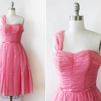 50s chiffon dress / vintage 1950s pink chiffon party dress / valentine cupcake dress