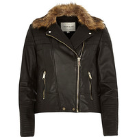 River Island Womens Black leather faux fur collar biker jacket