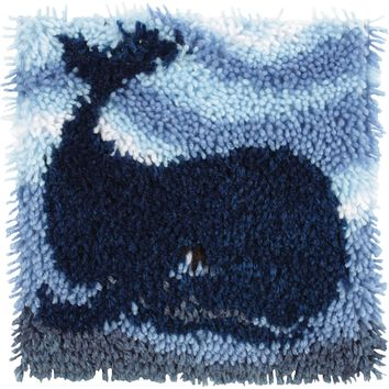 "Big Blue Whale Wonderart Latch Hook Kit 12""X12"""