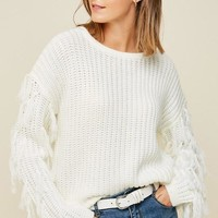 On The Fringe Sweater in Cream