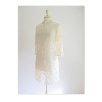 Vintage Beige Sheer Lace Duster Jacket