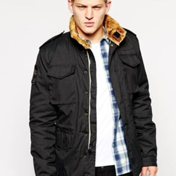 Alpha Industries Troop Jacket With Faux Fur Lined Collar - Black