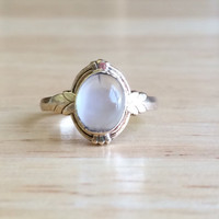 Vintage 10kt Yellow Gold Moonstone Ring - Size 5 Sizeable Alternative Non Traditional Engagement / Wedding Antique Bohemian Jewelry