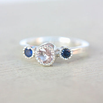Morganite Blue Sapphire Ring Sterling Silver Milgrain Ring Sapphire & Morganite Engagemet Ring Made in Your Size September Birthstone