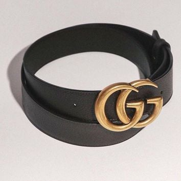 GUCCI GG Buckle Black Leatger Belt Size 95 - W34""