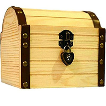 Wooden Treasure Chest Box with a Working Heart Shaped Lock and a Pair Of Keys, Great Memory Secret Pirate Princess Treasure Lock Box