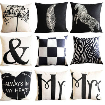 Nordic Fashion Cotton Linen Home Decor Vintage Black White Letters Tower Crown Sofa Cushion Decorative Pillow Core Cojines c60