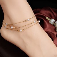 Multilayer Chains Imitate Pearl Anklets For Women Ankle Bracelet