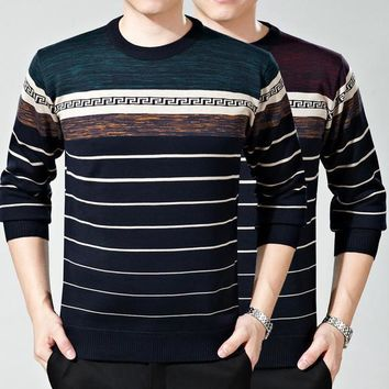 Mens Trendy Patterned and Stripe Sweater