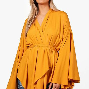 Plus Extreme Sleeve Wrap Front Tie Top | Boohoo