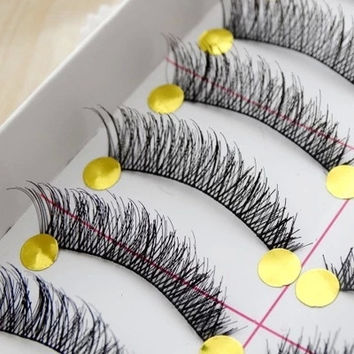 Free shipping hot sale10 Pairs Hand made fashion charming Cotton Stalk Cross False Eyelashes Natural Long Thick Fake lash