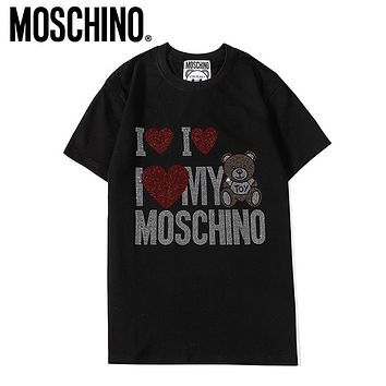 Moschino New fashion diamond love heart letter bear couple top t-shirt Black