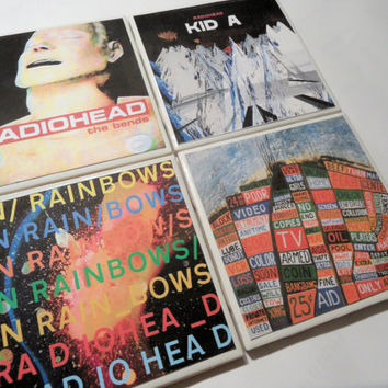 Radiohead Album Cover Ceramic Coasters set of 4 by myevilfriend