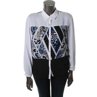 NY Collection Womens Printed Chiffon Button-Down Top