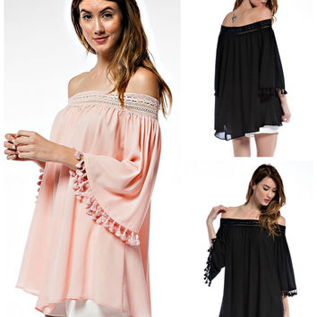 Bohemian Boho Off Shoulder Fringe Tunic Top