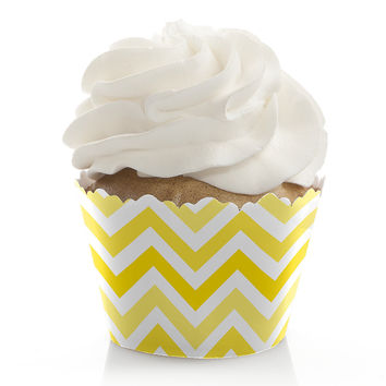Chevron Yellow - Bridal Shower Cupcake Wrappers