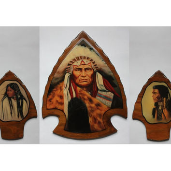 Native American Indian Arrowhead Plaque Set, Vintage 1970s Wood High Gloss Lacquer Arrow Wall Decor, Chief, Squaw Girl, Warrior Brave