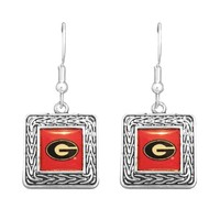 Georgia Bulldogs Geometric Square Earrings | UGA Square Earrings | Georgia Bulldogs Earrings