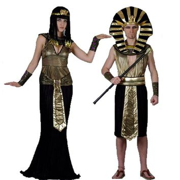 Egypt Pharaoh Cosplay Costumes Party Adults King Men Women Fancy Dress Costume For Halloween Holiday