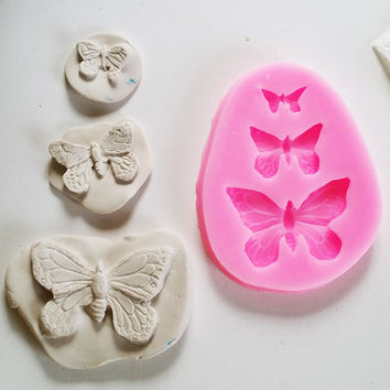 butterfly flexible push mold polymer clay silicone molds insects mould jewelry pendants charms
