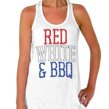 BBQ Tank Top, Red White, and BBQ, Womens Top, Flowy Tank Top, 4th of July, Patriotic, Stars, Stripes, All American, USA, Womens Clothing