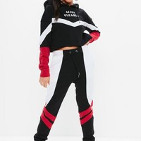 Missguided - Madison Beer x Missguided Navy Color Block Slogan Joggers