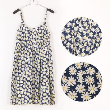 Mori Girl Dress O Neck Sleeveless Print Floral Sexy Beach Spaghetti Strap Dress