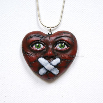 Love Is Silence 3, OOAK heart pendant! One of a kind air dry clay heart portrait sculpture as a pendant, completely handmade