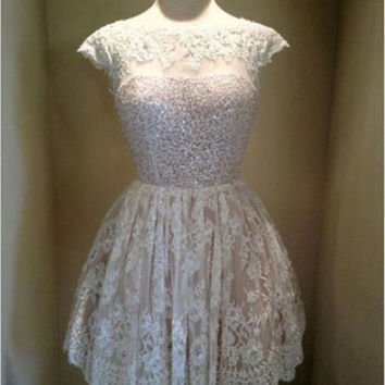 Lace Sequins Short Homecoming Dress