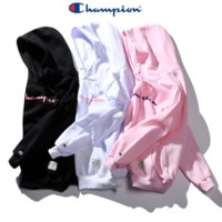 Tide brand Champion men and women couples long-sleeved hooded cashmere sweater Black