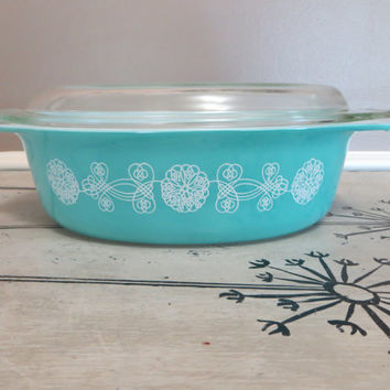 Pyrex Bowl Turquoise Pyrex Dish Covered Casserole Dish Baking Dish White Lace MedallionVintage Pyrex Blue Pyrex White Lace on Turquoise