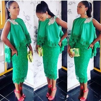 Aso Ebi Style Women Chic Cocktail Dresses Green Lace Tea Length Applique Formal Gowns with Cloak 2016 Sheath Short Prom Dress