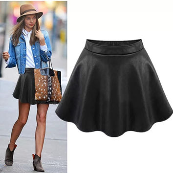 Black Leather Skater Skirt