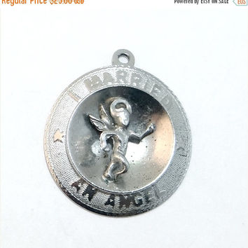 SALE - Sterling I Married an Angel Vintage Shadowbox Charm