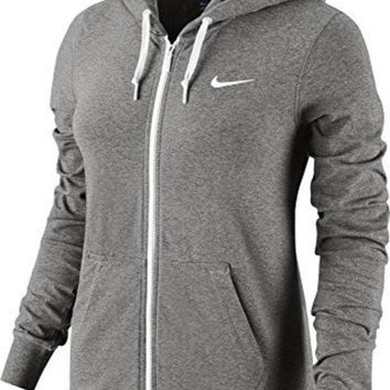 ESBON New Nike Women's Jersey Full-Zip Hoodie Dk Grey Heather/White/White X-Large