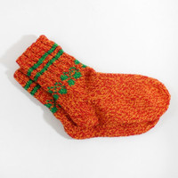 Knitted Wool Socks - Red, Orange, Size Medium