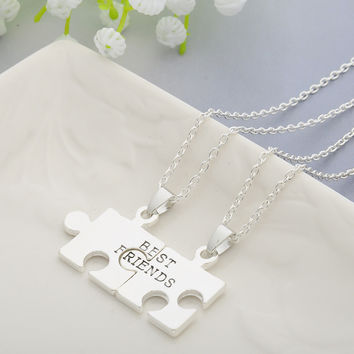 2pcs Puzzles Pendant Necklaces Friendship Necklace Best Friends Forever Creative Keepsake Memorial Day -Christmas Gift