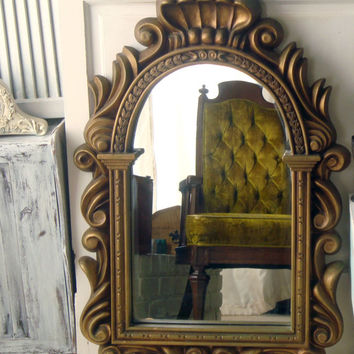 Vintage Gold Ornate Mirror, Greek Style Vintage Mirror, Restaurant Mirror, Hollywood Regency, Large Gold Mirror, Shabby Chic, Unique Mirror