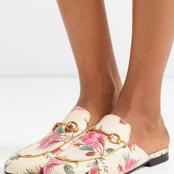 Gucci - Princetown horsebit-detailed printed leather slippers
