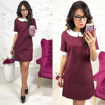 2018 Fashion Women lovely Doll Collar Office work OL A-Line dress Spring Half sleeve Casual Loose Party A-Line dresses Vestidos