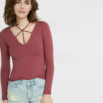 Express One Eleven Strappy Deep V-Neck Tee