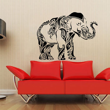 Housewares Wall Vinyl Decal Animal Tribal Elephant Floral Patterns Art Indian Design Modern Interior Decor Sticker Removable Room SV4137