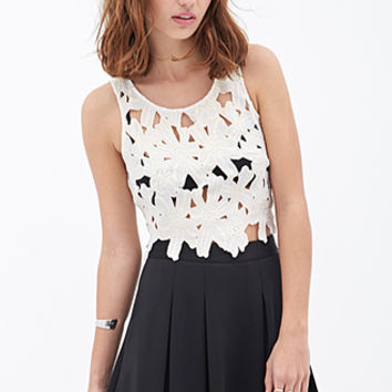 FOREVER 21 Floral Crochet Crop Top White/Gold
