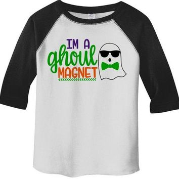 Boy's Funny Halloween Shirt Ghoul Magnet Ghost Toddler Shirts Adorable Halloween Top 3/4 Sleeve Raglan