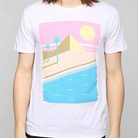 Poolhouse Retro Beach Scene Boxy Tee- White