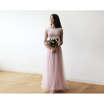 Velvet and tulle blush gown with long sleeves 1135