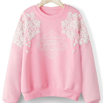 Pink Letter Pattern Long Sleeve Fleece Lining Sweatshirt