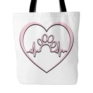 Dog Rescue Pink Paw Print - Tote Bag