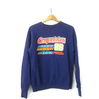 Vintage Competition 88 Sweatshirt Grunge Blue Sweater Hipster Novelty Top Tomboy Sweatshirt Size Medium Large