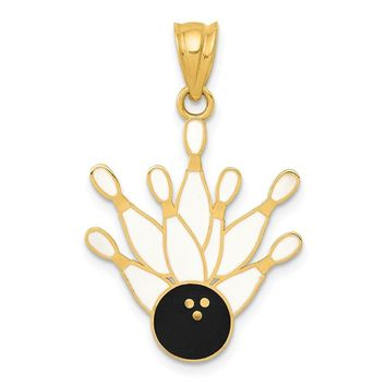14k Yellow Gold Enameled Bowling Ball and Seven Pins Pendant